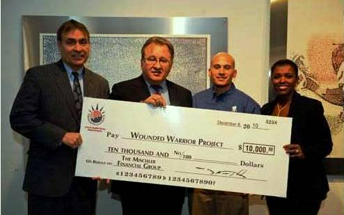 Mischler Financial Group's Walt Mischler presenting a $10,000 check to the Illinois Chapter of Wounded Warrior Project (2010 library photo)