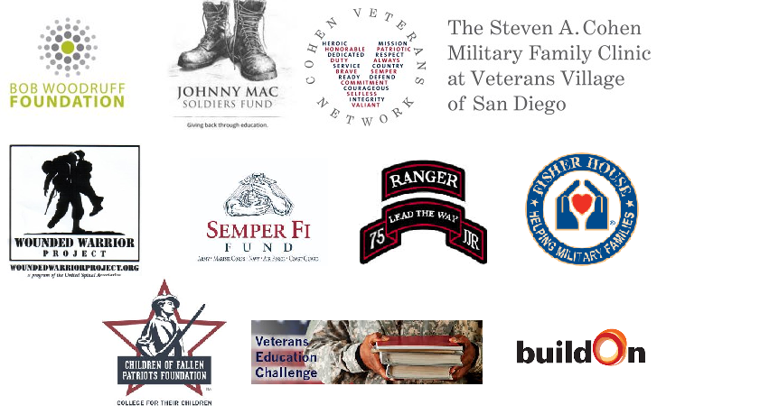 Fisher House Fallen Patriots Lead the Way Fund Semper Fi Fund Bob Woodruff Foundation Johnny Mac Soldiers Fund Wounded Warrior Project
